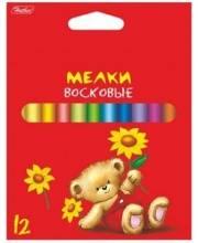 Мелки цветные восковые Мишка 12 цв Hatber