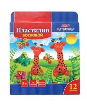Пластилин восковой Забавные зверята 12 цв Hatber