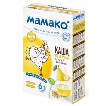 Питание, Каша пшеничная с грушей и бананом на козьем молоке 200 гр Мамако 223218, фото