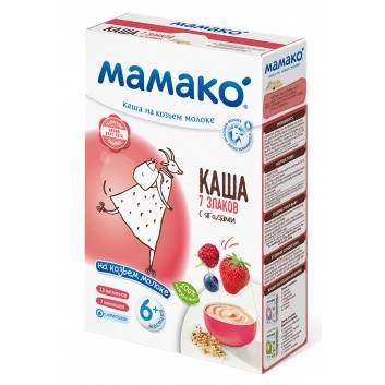 Питание, Каша 7 злаков с ягодами на козьем молоке 200 гр Мамако 223223, фото