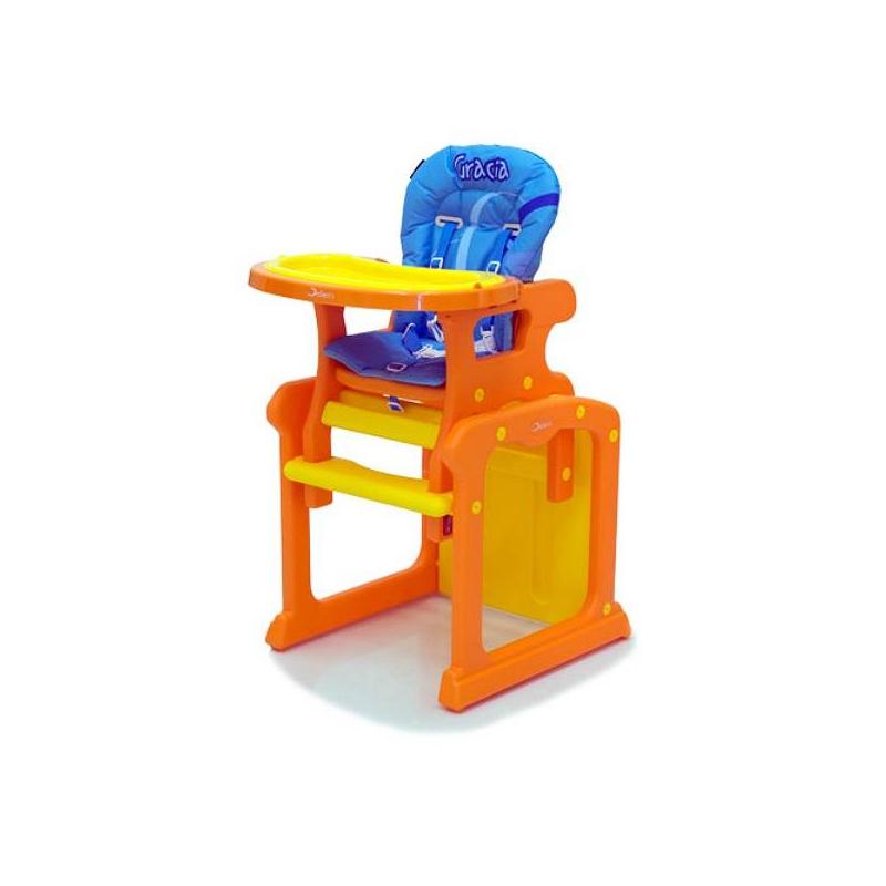 Стульчик Gracia Orange/BlueСтульчик для кормления Jetem Gracia Orange/Blue.Стульчик-трансформер от Jetem для детей, которые только научились самостоятельно сидеть. Может раскладываться, превращаясь в отдельные стол и стул. В комплекте: ремни безопасности, ограничители и матрац.<br>Стульчик-трансформер — прекрасный выбор для вашего малыша! Он удобен и прост в эксплуатации, не скользит по поверхности пола. Ремни безопасности и ограничители предохранят от падений любого непоседу. Удобное и комфортное сиденье с мягким матрасиком может регулироваться. Сиденье и столешница регулируется в трех положениях.Рекомендации по уходу: протирать влажной губкой пластмассовые комплектующие, тканный матрас стирать при 30° C в машинке.Размеры: 57х52х100 см.<br><br>Возраст от: 6 месяцев<br>Пол: Не указан<br>Артикул: 624329<br>Бренд: Германия<br>Размер: от 6 месяцев