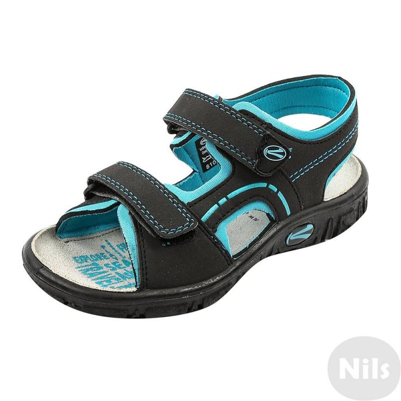СандалииЧерно-бирюзовые сандалии австрийской марки Richter для мальчиков. Легкие открытые сандалии выполнены из текбука (искусственный нубук), мягкая текстильная подкладка сшита из неопрена. Стелька из натуральной кожи износостойкая и приятная на ощупь. Удобные застежки-липучки позволяют отрегулировать сандалии по ноге и облегчают процесс переобувания. Очень легкая гибкая подошва не скользит.<br><br>Размер: 27<br>Цвет: Бирюзовый<br>Пол: Для мальчика<br>Артикул: 625854<br>Сезон: Весна/Лето<br>Материал верха: Искусственная кожа<br>Материал подкладки: Текстиль<br>Материал стельки: Натуральная кожа<br>Материал подошвы: Полиуретан<br>Бренд: Австрия