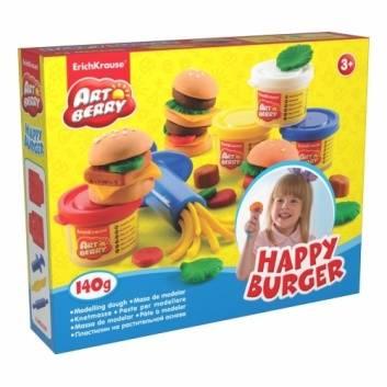 Творчество, Пластилин Artberry Набор для лепки Счастливый Бургер 4 банки Happy Burger Erich Krause 185657, фото
