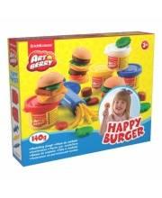 Пластилин Artberry Набор для лепки Счастливый Бургер 4 банки Happy Burger Erich Krause