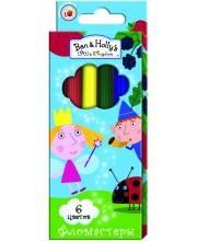 Фломастеры для рисования Бен и Холли 6 цветов РОСМЭН