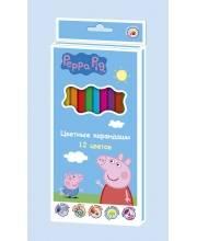 Набор цветных карандашей Свинка Пеппа 12 цветов РОСМЭН