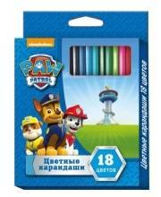 Набор цветных карандашей Щенячий патруль 18 цветов РОСМЭН