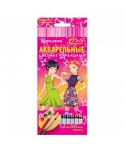 Цветные карандаши Pretty Girls акварельные 12 цветов BRAUBERG