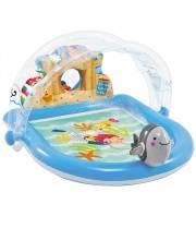 Детский надувной бассейн с навесом Морской, с аксессуарами Intex