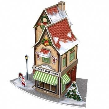 Игрушки, 3D пазл Рождественский магазинчик сладостей с подсветкой CubicFun 184409, фото