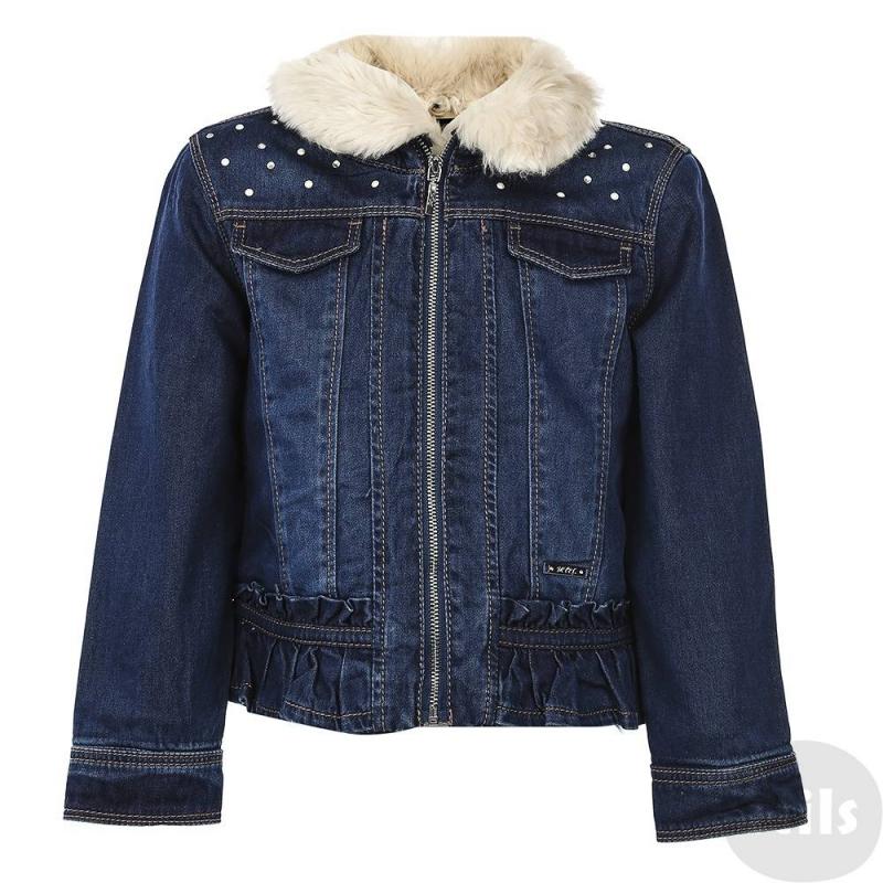 КурткаДжинсовая куртка темно-синего цвета марки MAYORAL для девочек. Куртка выполнена из плотного денима, внутри дополнена мягкой подкладкой из искусственного меха, застегивается на молнию. Куртка украшена стразами, бусинами и рюшами по нижнему краю. В комплект входит воротничок из искусственного меха, пристегивается на пуговицы с внутренней стороны.<br><br>Размер: 5 лет<br>Цвет: Синий<br>Рост: 110<br>Пол: Для девочки<br>Артикул: 626365<br>Бренд: Испания<br>Страна производитель: Индия<br>Сезон: Осень/Зима<br>Состав: 100% Хлопок