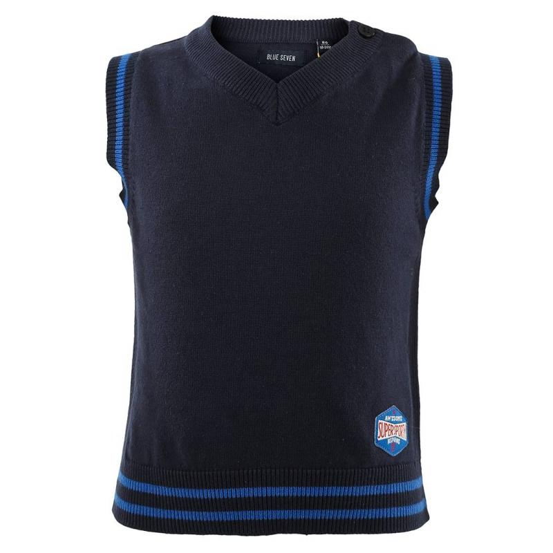 ЖилетТемно-синий трикотажный жилет марки BLUE SEVEN для мальчиков. Жилет с V-образным вырезом из хлопкового трикотажа украшен нашивкой в спортивном стиле. Застегивается на одну пуговицу на плече.<br><br>Размер: 9 месяцев<br>Цвет: Темносиний<br>Рост: 74<br>Пол: Для мальчика<br>Артикул: 602759<br>Бренд: Германия<br>Страна производитель: Бангладеш<br>Сезон: Всесезонный<br>Состав: 100% Хлопок<br>Вид застежки: Пуговицы