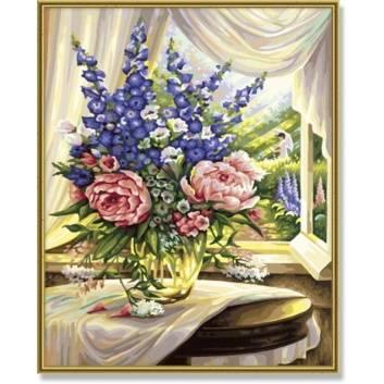 Книги и развитие, Раскраска по номерам Цветы на столе Schipper 527943, фото