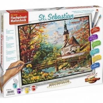 Книги и развитие, Раскраска по номерам Церковь св. Себастьяна в Рамзау Schipper 527538, фото