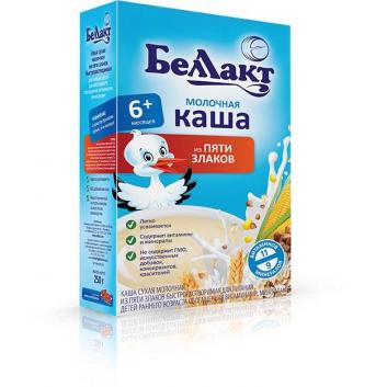 Питание, Каша молочная из 5-ти злаков 250 г Беллакт 227759, фото