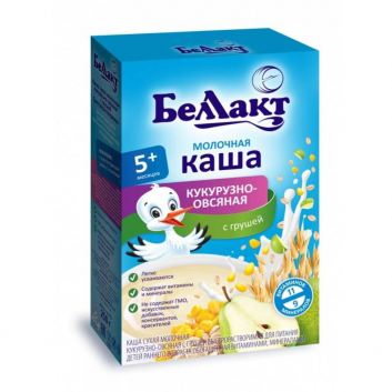 Питание, Каша молочная кукуруза, овес, грушка 250 г Беллакт 227760, фото