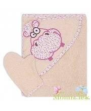 Полотенце-уголок махровое с вышивкой Бегемот Осьминожка