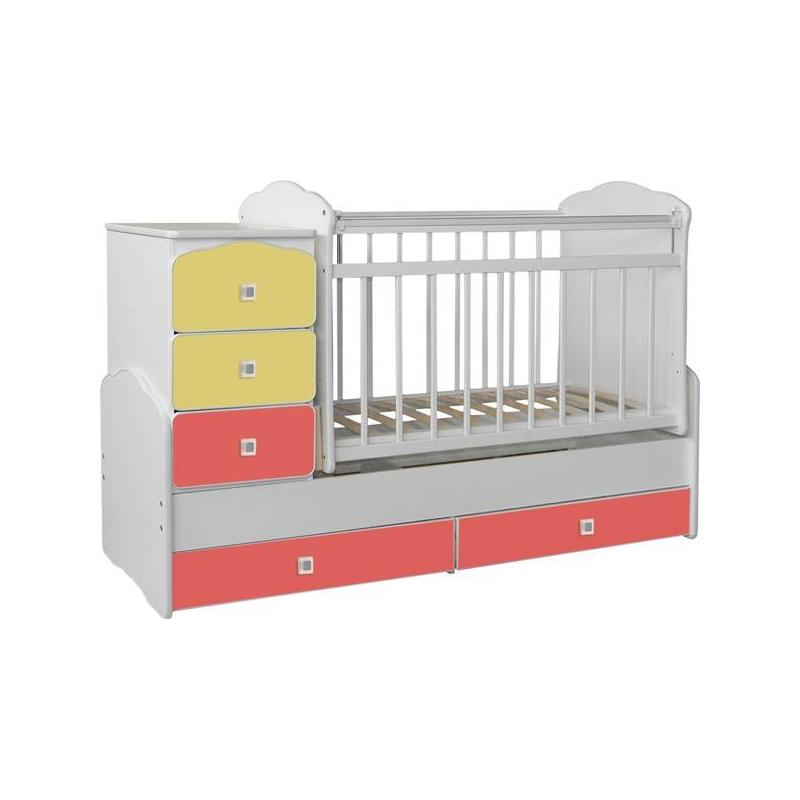 Кровать-трансформер с маятником желто-краснаяНовая яркая кроватка предоставит малышу комфортное спальное место на ортопедическом основании. Она понравится ему благодаря функции маятника. Теперь ребенка можно укачивать без лишних сложностей: просто немного оттолкнув кровать. Удобства добавит и регулирующееся дно: высоту основания кровати можно изменять так, как нужно, а также опускающаяся боковая створка.Кроватка изготовлена на российском предприятии из натурального дерева, покрыта нетоксичным защитным лаком и цветным материалом. Для того чтобы малыш не добрался до декоративной отделки, на боковинах стоят защитные пластиковые чехлы.<br><br>Возраст от: 0 месяцев<br>Пол: Не указан<br>Артикул: 627409<br>Страна производитель: Россия<br>Бренд: Россия<br>Размер: от 0 до 4 лет