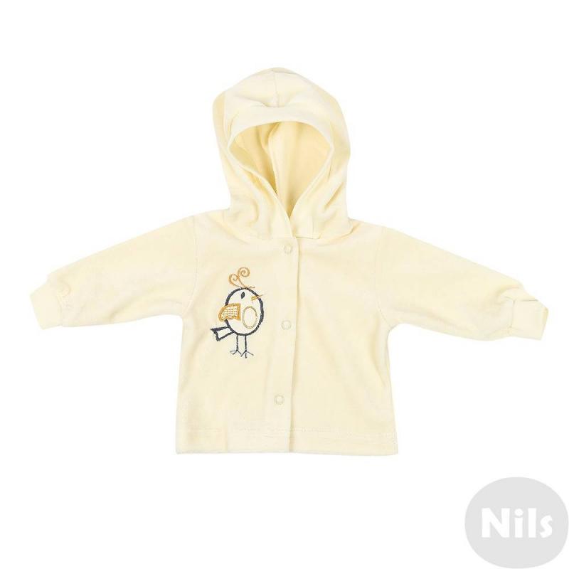 КофточкаКофточканежно-желтогоцвета марки Милуша для малышей.Кофточка с капюшоном сшита из мягкого хлопкового велюра, украшена вышивкой с птичкой. Манжеты рукавов эластичные. Кофта застегивается на кнопки спереди.<br><br>Размер: 18 месяцев<br>Цвет: Желтый<br>Рост: 86<br>Пол: Не указан<br>Артикул: 627895<br>Страна производитель: Россия<br>Сезон: Всесезонный<br>Состав: 100% Хлопок<br>Бренд: Россия