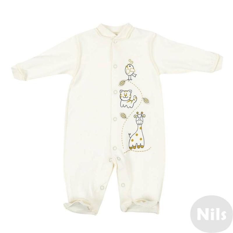 КомбинезонКомбинезонкремового цвета марки Милуша для малышей.<br>Комбинезон с длинным рукавом и закрытыми ножками выполнен из мягкого хлопкового трикотажа, украшен забавным принтом.Швы выполнены таким образом, чтобы не натирать нежную кожу ребенка. Кнопочная застежка по всей длине облегчает процесс переодевания.<br><br>Размер: 12 месяцев<br>Цвет: Бежевый<br>Рост: 80<br>Пол: Не указан<br>Артикул: 627908<br>Страна производитель: Россия<br>Сезон: Всесезонный<br>Состав: 100% Хлопок<br>Бренд: Россия