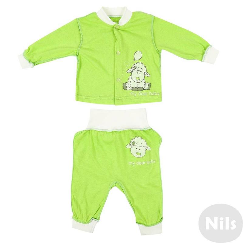 КомплектКомплект кофточка + штанишки марки Милуша для малышей. Комплект выполнен из стопроцентного хлопка салатового цвета швами наружу. Кофточка с длинным рукавом украшена принтом с изображением овечки, застегивается на кнопки спереди. Штанишки с удобной резинкой на поясе и манжетами также украшены принтом с овечкой.<br><br>Размер: 9 месяцев<br>Цвет: Салатовый<br>Рост: 74<br>Пол: Не указан<br>Артикул: 628072<br>Страна производитель: Россия<br>Сезон: Всесезонный<br>Состав: 100% Хлопок<br>Бренд: Россия