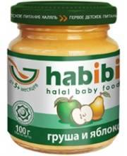 Пюре Груша и яблоко без сахара 100 гр HABIBI