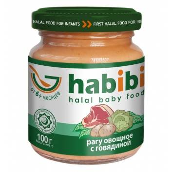 Питание, Пюре Рагу овощное с говядиной 100 гр HABIBI 227971, фото
