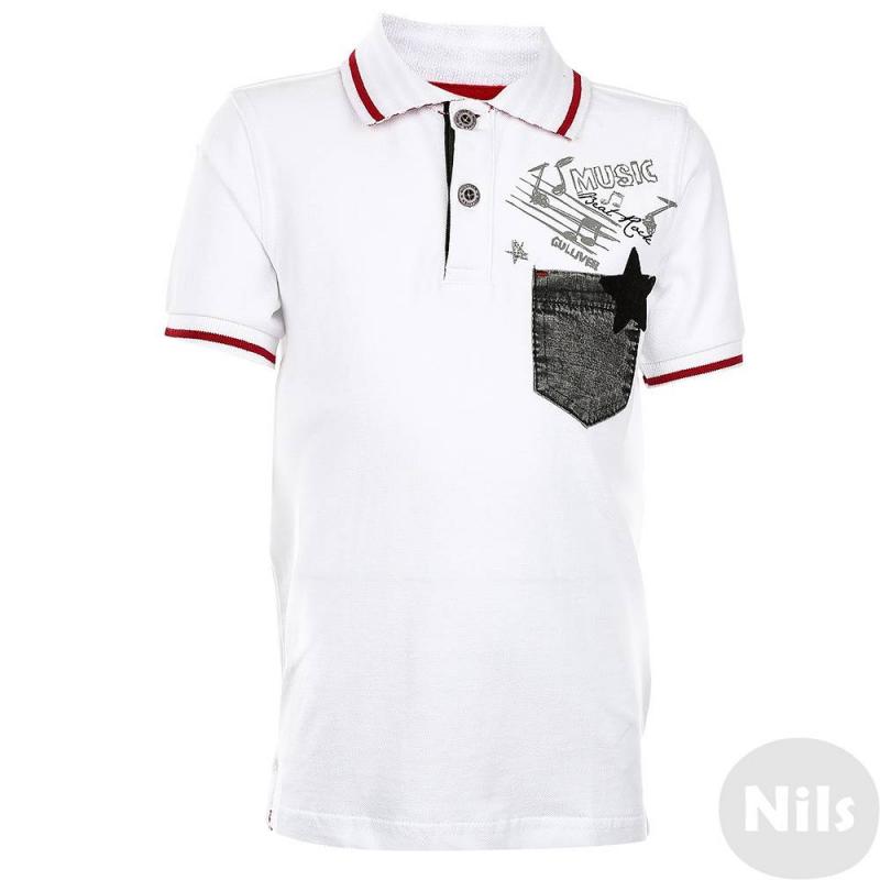Рубашка-полоРубашка-поло белого цвета марки Gulliver длямальчиков. Рубашка поло выполнена из стопроцентного хлопка, имееткороткий рукав, классический воротник, застегивается на две пуговицы у ворота, дополнена нагрудным карманом. Рубашка-поло украшена принтом спереди и вышитой надписью сзади.<br><br>Размер: 12 лет<br>Цвет: Белый<br>Рост: 152<br>Пол: Для мальчика<br>Артикул: 627136<br>Страна производитель: Китай<br>Сезон: Весна/Лето<br>Состав: 100% Хлопок<br>Бренд: Россия