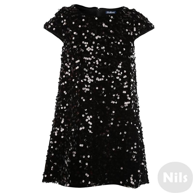 ПлатьеПлатье черного цвета марки Gulliver для девочек. Нарядное бархатное платьес коротким рукавомдекорировано пайетками, имеет хлопковую подкладку. Застегивается платье на молнию на спине.<br><br>Размер: 10 лет<br>Цвет: Черный<br>Рост: 140<br>Пол: Для девочки<br>Артикул: 626496<br>Страна производитель: Китай<br>Сезон: Всесезонный<br>Состав: 94% Полиэстер, 6% Эластан<br>Состав подкладки: 100% Хлопок<br>Бренд: Россия