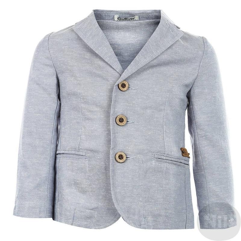ЖакетЖакетголубогоцвета марки Gulliver для мальчиков.Стильный летний пиджак выполнен из натуральных материалов - смеси льна и вискозы. Пиджак имеет два кармана, застегивается на три пуговицы.<br><br>Размер: 2 года<br>Цвет: Голубой<br>Рост: 92<br>Пол: Для мальчика<br>Артикул: 626663<br>Страна производитель: Китай<br>Сезон: Весна/Лето<br>Состав: 55% Лён, 45% Вискоза<br>Бренд: Россия