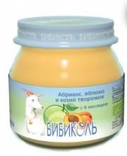 Фруктовое Organic-пюре Абрикос яблоко и козий творожок 80 г Бибиколь