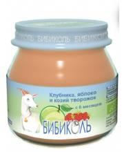 Фруктовое Organic-пюре Клубника яблоко и козий творожок 80 г Бибиколь