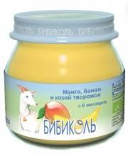 Фруктовое Organic-пюре Манго банан и козий творожок 80 г Бибиколь