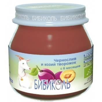 Питание, Фруктовое Organic-пюре Чернослив и козий творожок 80 г Бибиколь , фото