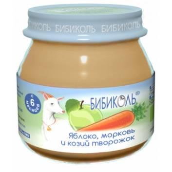 Питание, Фруктово-овощное Organic-пюре Яблоко морковь и козий творожок 80 г Бибиколь 258826, фото