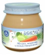 Фруктово-овощное Organic-пюре Яблоко морковь и козий творожок 80 г Бибиколь