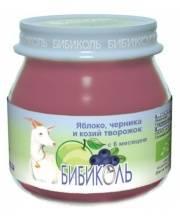 Фруктовое Organic-пюре Яблоко черника и козий творожок 80 г Бибиколь