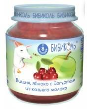 Фруктовое Organic-пюре Вишня яблоко с йогуртом из козьего молока 125 г Бибиколь
