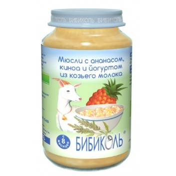 Питание, Фруктово-зерновое Organic-пюре Мюсли с ананасом киноа и йогуртом из козьего молока 190 г Бибиколь 258834, фото