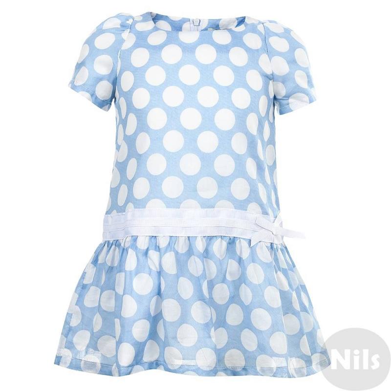 Gulliver Платье платье голубое в белый горошек