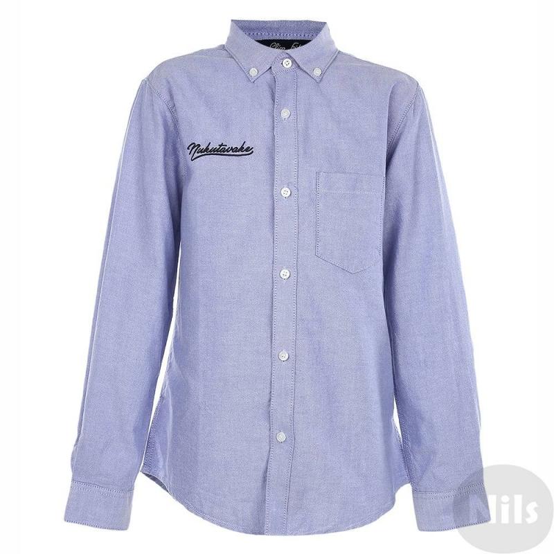 РубашкаРубашка голубого цвета марки MAYORAL для мальчиков. Рубашка выполнена из стопроцентного хлопка с мелким рисунком, имеет классический воротник, нагрудный карман, застегивается на пуговицы. Рукава с манжетамиподворачиваются благодаря пуговицам. Рубашка декорирована вышивкой.<br><br>Размер: 14 лет<br>Цвет: Голубой<br>Рост: 157<br>Пол: Для мальчика<br>Артикул: 623417<br>Страна производитель: Бангладеш<br>Сезон: Осень/Зима<br>Состав: 100% Хлопок<br>Бренд: Испания