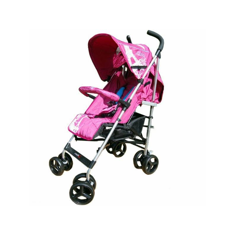 Коляска-трость ParisКоляска-трость Paris розового цвета марки Jetem для девочек.<br>Изящная и аккуратная, коляска-трость от немецкого бренда Jetem приятно выглядит и отлично управляется даже самыми хрупкими и миниатюрными мамами.Идеальная для города и даже для пригородных тропинок, коляска-трость Paris, создана для детей от полугода до трех лет,она может выдержать вес до 18 кг. Мягкое широкое сиденье с регулируемой в 3 положениях спинкой будет удобно и для крупных деток, его можно разложить в удобное для сна положение и продолжать наслаждаться прогулкой. Подножку тоже можно менять в 3 положениях, наиболее удобных для положений сидя, полулежа, лежа. Для безопасности в этой коляске предусмотрены: съемный бампер с мягкой накладкой, который не позволит малышу выползти из коляски, а также пятиточечные комфортные ремни безопасности, которые надежно фиксируют кроху в коляске.<br>В коляске Jetem Paris 4 сдвоенных колеса с амортизирующими пружинами, стабилизирующие коляску во время езды по бездорожью и смягчающие ее ход. Передние поворотно-маневренные колеса оснащены фиксатором, а задние полноценным надежным тормозом. Благодаря уникальному антикоррозийному покрытию с эффектом лакового напыления, коляска прослужит вам долгие годы и будет защищена от сырости и ржавчины. Большой просторный капюшон легко отодвигается до самого бампера и защищает кроху от ненастья, а смотровое окошко в капюшоне позволит маме увидеть, чем занят малыш. В прохладное время года ножки малыша защитит от холода теплая накидка на ноги, которая идет в комплекте с коляской. Мамы - любительницы шоппинга, по достоинству оценят удобный кармашек для мелочей на спинке коляски и просторную корзину для покупок, которые позволят прогуливаться с малышом и в торговых центрах.<br>Размер:48х85х100 см.<br>Вес: 6,5 кг.<br><br>Цвет: Розовый<br>Возраст от: 6 месяцев<br>Пол: Для девочки<br>Артикул: 628752<br>Бренд: Германия<br>Страна производитель: Китай<br>Вес: 6,5 кг.<br>Размер: от 6 месяцев<br>Механизм складывания: Трос