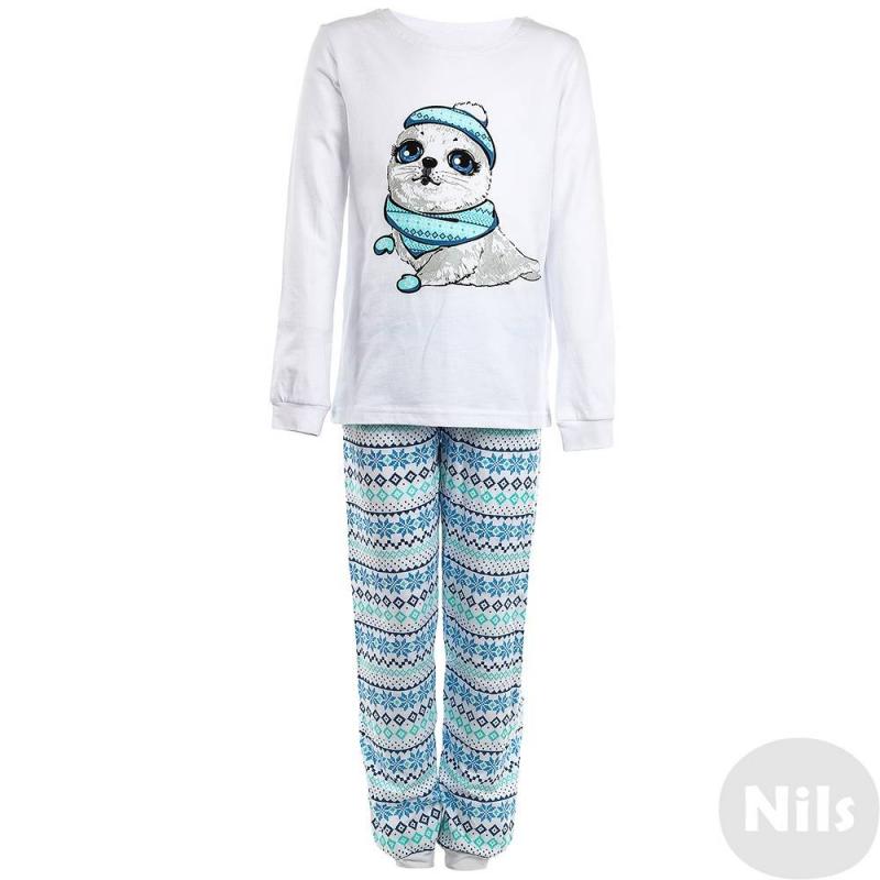 ПижамаПижама белогоцвета маркиPELICAN для девочек. Пижама выполнена из стопроцентного хлопка, состоит из футболки с длинным рукавом и брюк. Футболка белогоцвета украшена принтом с изображением белька, брюки белого цвета украшены узорами в сине-голубыхтонах. Брюки дополнены трикотажными манжетами.<br><br>Размер: 10 лет<br>Цвет: Серый<br>Рост: 140<br>Пол: Для девочки<br>Артикул: 628910<br>Страна производитель: Китай<br>Сезон: Всесезонный<br>Состав: 100% Хлопок<br>Бренд: Россия