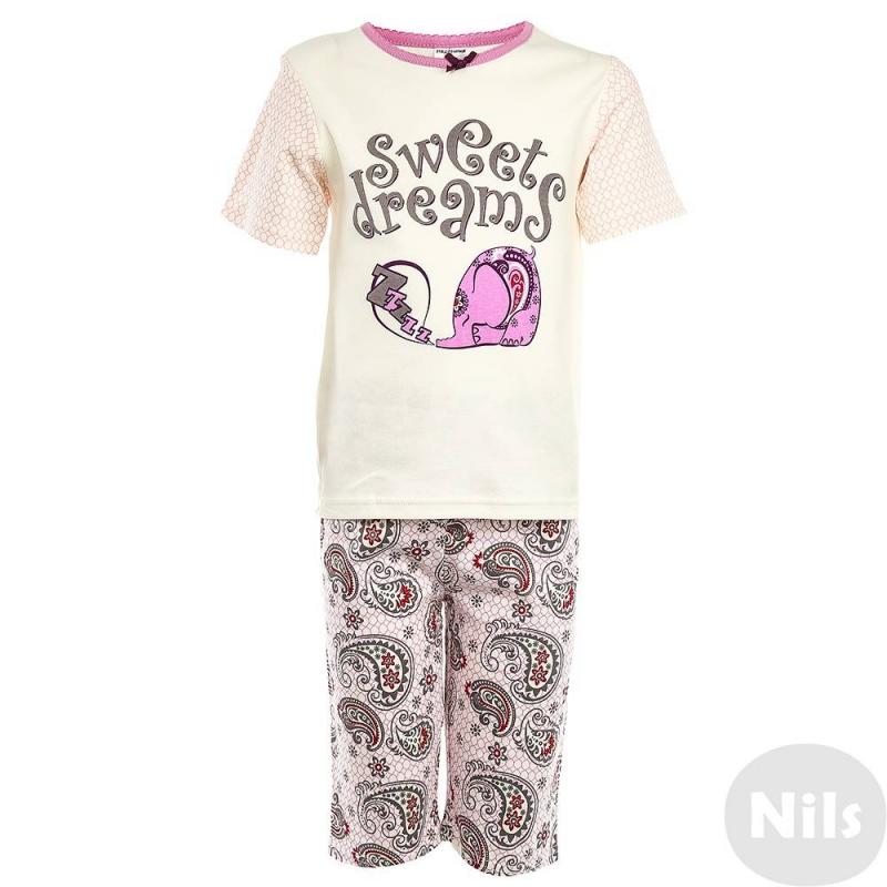ПижамаПижама Слоник розовогоцвета маркиModamini длядевочек.Пижама состоит из футболки с короткимрукавом и шортиков. Комплект сшит из качественного хлопкового трикотажа. Брюки и рукава футболки украшены орнаментом. Футболка украшена изображением слоника.<br><br>Размер: 6 лет<br>Цвет: Розовый<br>Рост: 116<br>Пол: Для девочки<br>Артикул: 629149<br>Бренд: Россия<br>Страна производитель: Китай<br>Состав: 100% Хлопок