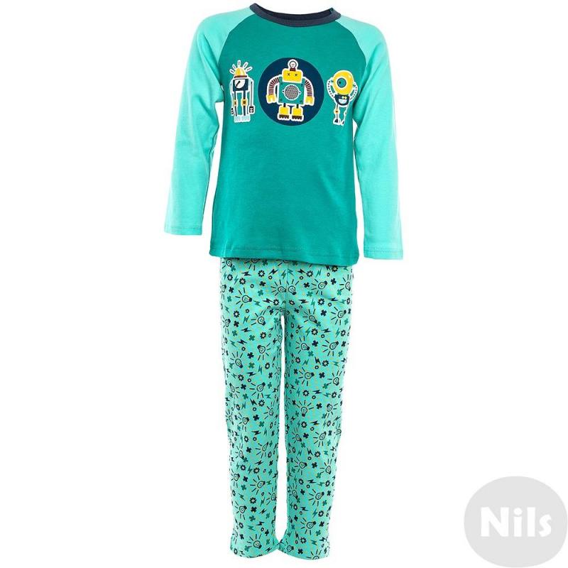 ПижамаПижама Роботы зеленогоцвета марки Модамини длямальчиков. Пижама состоит из футболки с длиннымрукавом и брюк. Весь комплект выполнен из мягкого хлопкового трикотажа. На футболке яркий принт с роботами, брюки также украшены мелким узором. Пояс брюкна удобной резинке.<br><br>Размер: 6 лет<br>Цвет: Зеленый<br>Рост: 116<br>Пол: Для мальчика<br>Артикул: 629173<br>Страна производитель: Китай<br>Сезон: Всесезонный<br>Состав: 100% Хлопок<br>Бренд: Россия
