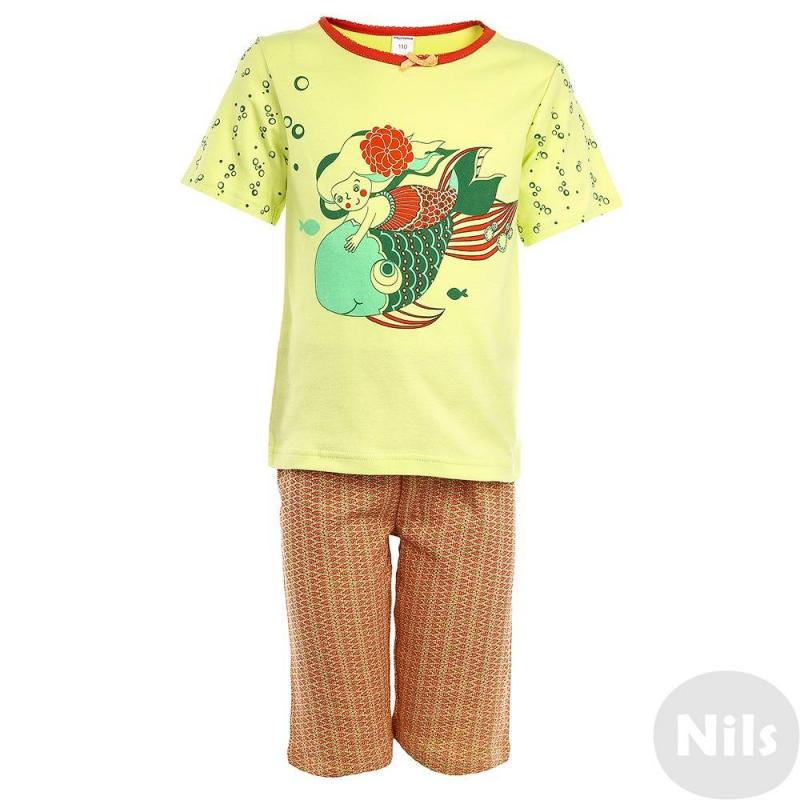 ПижамаПижама Русалка салатового цвета марки Модамини для девочек. Пижама состоит из футболки с коротким рукавом и шортиков. Весь комплект выполнен из мягкого хлопкового трикотажа. На футболке принт с русалкой, на шортиках мелкий узор с рыбками. Ворот футболки украшен отделкой краше и бантиком. Пояс шортиков на резинке.<br><br>Размер: 2 года<br>Цвет: Салатовый<br>Рост: 92<br>Пол: Для девочки<br>Артикул: 629157<br>Страна производитель: Китай<br>Сезон: Всесезонный<br>Состав: 100% Хлопок<br>Бренд: Россия