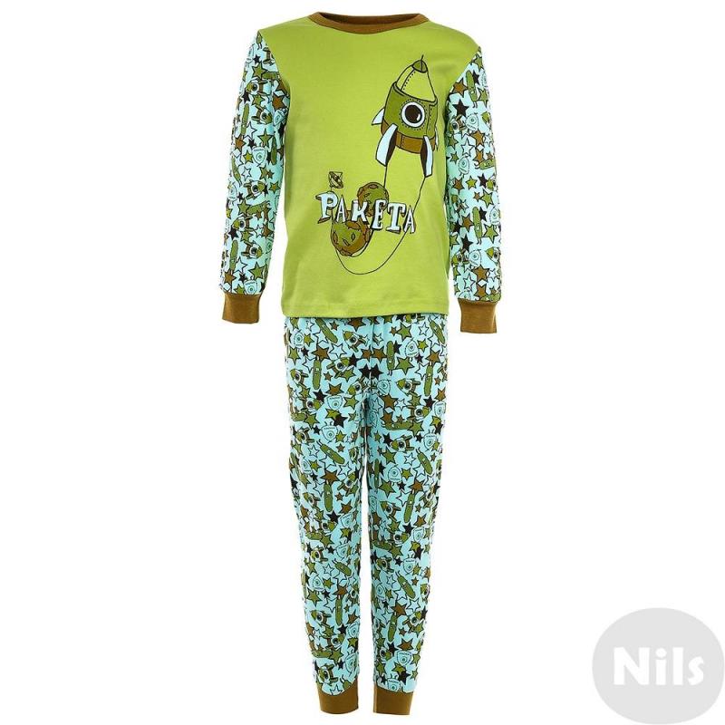 ПижамаПижама Ракетазеленогоцвета маркиModamini длямальчиков.Пижама состоит из футболки с длиннымрукавом и брюк. Комплект сшит из качественного хлопкового трикотажа. Брюки голубого цветаимеют удобный пояс на резинке, украшены орнаментом. Футболка зеленогоцвета украшена принтом с изображением ракеты.<br><br>Размер: 3 года<br>Цвет: Зеленый<br>Рост: 98<br>Пол: Для мальчика<br>Артикул: 629051<br>Бренд: Россия<br>Страна производитель: Китай<br>Сезон: Всесезонный<br>Состав: 100% Хлопок