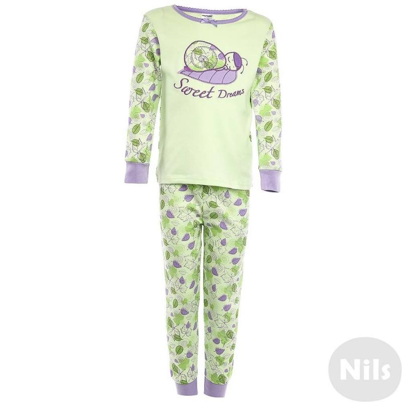 ПижамаПижама Улиткасалатовогоцвета маркиModamini длядевочек.Пижама состоит из футболки с длиннымрукавом и брючек. Комплект сшит из качественного хлопкового трикотажа. Брюки и рукава украшены ярким орнаментом. Футболка украшена изображением спящей улитки.<br><br>Размер: 5 лет<br>Цвет: Зеленый<br>Рост: 110<br>Пол: Для девочки<br>Артикул: 629113<br>Страна производитель: Китай<br>Состав: 100% Хлопок<br>Бренд: Россия