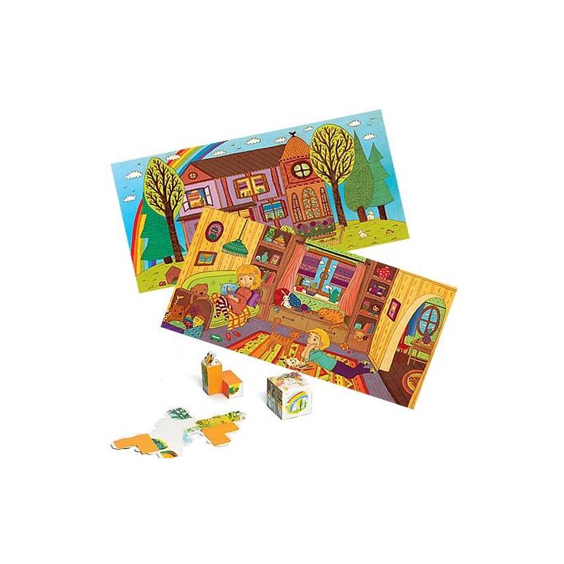 Игровой набор ДомИнтеллектуальный игровой набор КУБУМ KIDS Дом сочетает в себе четыре наиболее популярные развивающие игры: 3D-пазл, конструктор, головоломку и мозаику.Набор содержит 16 специальных форм из плотного картона, которые легко собираются в объемные фигуры без клея и ножниц. Складывая фигуры в определенной последовательности, ребенок увидит красочныепознавательные иллюстрации. Выполняя задания, ребенок сможет сложить:- 8 картинок из 2 деталей- 6 картинок из 8 деталей- 2 картинки из 16 деталей.Игра хорошо развивает пространственное и образноемышление, воображение, логику, памятьитворческие способности. К набору прилагается подробная инструкция. Подходит для детей от 3-х лет.<br><br>Возраст от: 3 года<br>Пол: Не указан<br>Артикул: 629662<br>Бренд: Россия<br>Страна производитель: Россия<br>Размер: от 3 лет
