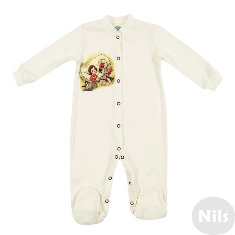 КомбинезонКомбинезон молочного цвета марки Милуша по лицензии Nils. Комбинезон для девочеквыполнен из стопроцентного хлопка, украшен авторским принтом с изображением девочки и гуся. Принт был создан детской художницей Викторией Кирдий специально для коллекции Nils.<br>Трикотажный комбинезонс длиннымрукавом и закрытыми ножками имеет эластичные манжетыи воротничок, застегивается на кнопки спереди по всей длине, а также по шаговому шву.<br>Вещьсохраняет безупречный внешний вид после многочисленных стирок, принты выдерживают глажку при высокой температуре.<br><br>Размер: 12 месяцев<br>Цвет: Бежевый<br>Рост: 80<br>Пол: Для девочки<br>Артикул: 629279<br>Страна производитель: Россия<br>Сезон: Всесезонный<br>Состав: 100% Хлопок<br>Бренд: Россия<br>Вид застежки: Кнопки